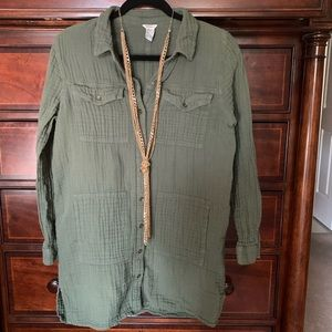 Forever 21 Army Green Shirt Dress